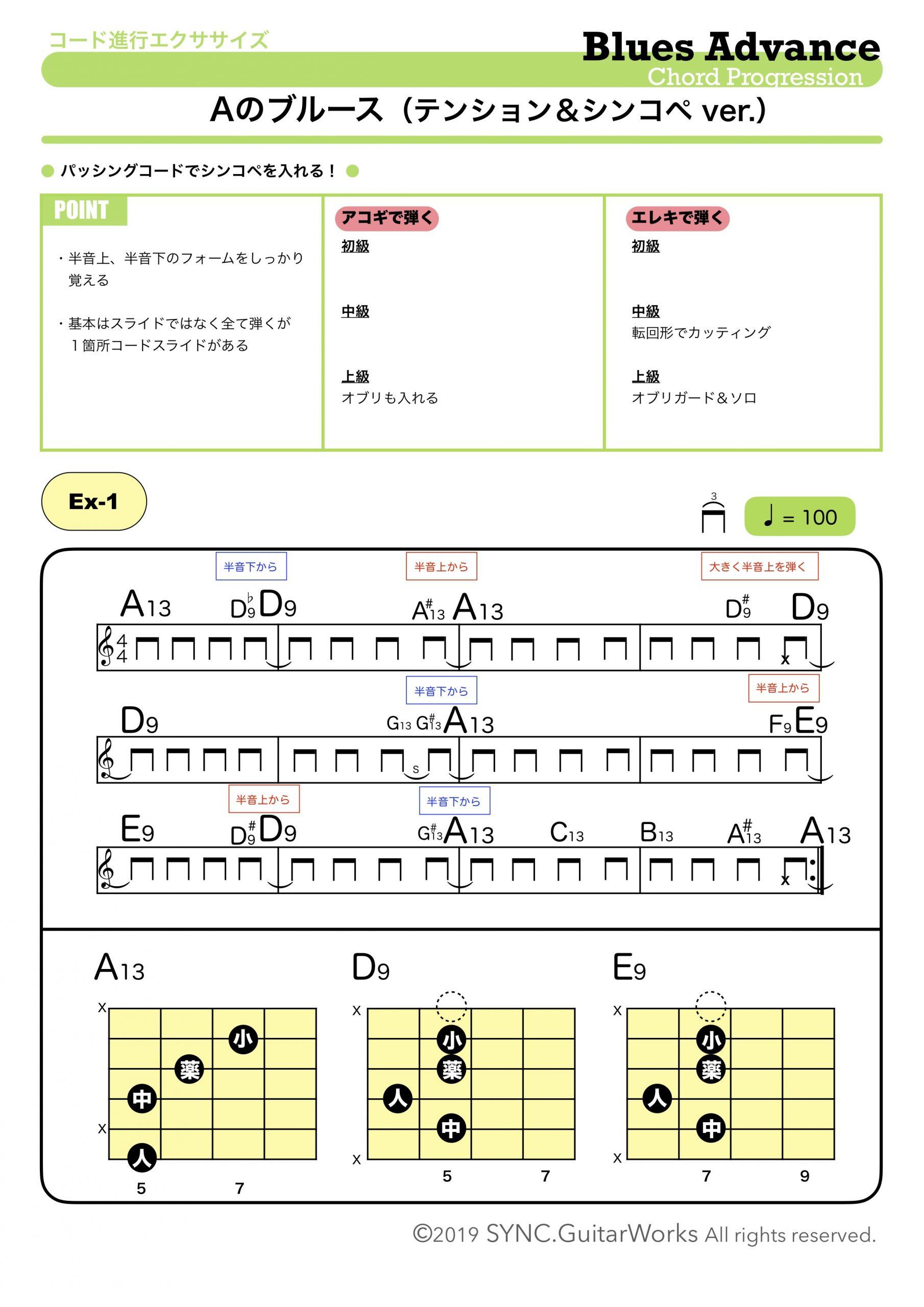 ギター ブルース お洒落 テンションコード